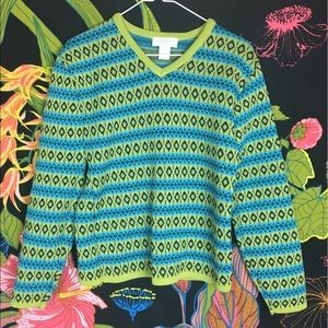 EXPRESS / Blue + Green Vintage Print Sweater